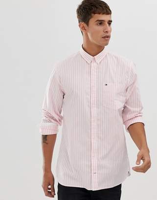 b96496f7 Tommy Hilfiger striped button down oxford shirt with pique flag logo in pink