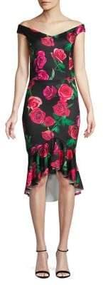 Quiz Floral Dip Hem Sheath Dress