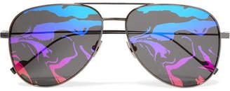 Saint Laurent Aviator-style Titanium Mirrored Sunglasses