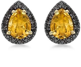 At Co Uk Black Diamond Carissima Gold 9ct Yellow 0 23ct And Teardrop Citrine Stud Earrings