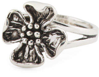Made In Turkey Sterling Silver Flower Blossom Ring