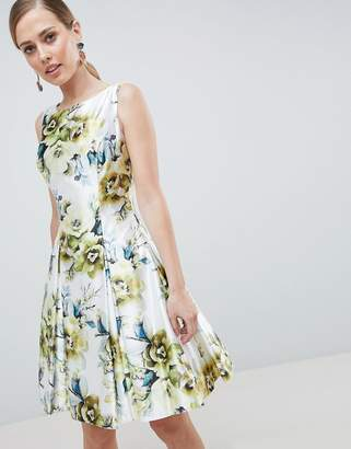 Forever Unique Floral Print High Neck Prom Dress