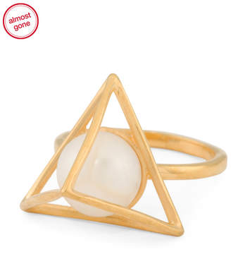 Made In India Sterling Silver Caged Pearl Pyramid Ring