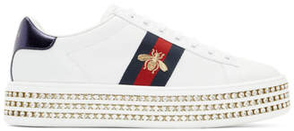 Gucci White Crystal Platform Bee Ace Sneakers