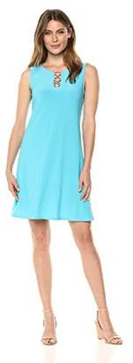 MSK Women's Trapeze Body Casual Dress with Three Ring Details