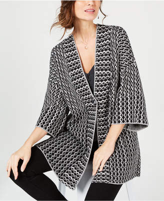 Style&Co. Style & Co Geometric Jacquard-Knit Sweater Coat, Created for Macy's