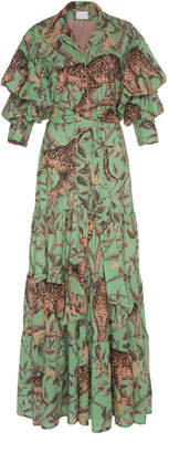 Johanna Ortiz Magestic Safari Printed Eyelet Cotton Maxi Dress