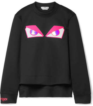 Fendi Wonders Appliquéd Ponte Sweatshirt - Black