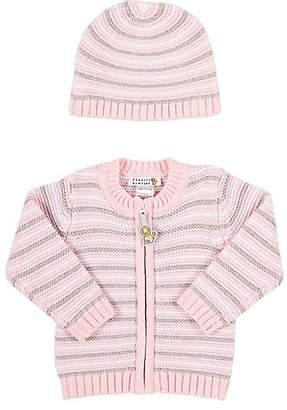 Barneys New York Infants' Striped Cardigan & Hat - Pink