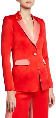 Alexis Nevra Satin Single-Button Blazer