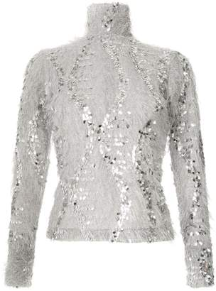 Gloria Coelho sequinned fuzzy blouse
