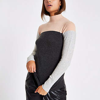 River Island Dark grey color block turtle neck sweater