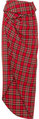 Awake Tartan Cotton Wrap Skirt - Red