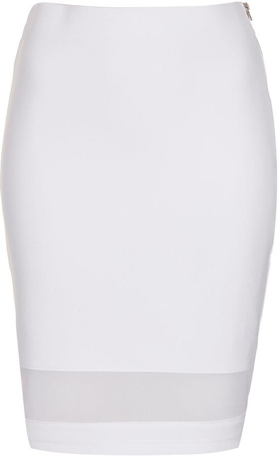 Topshop White Mesh Panel Tube Skirt