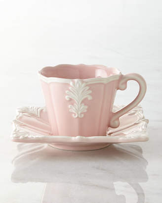 Horchow Four Pink Square Baroque Cups & Saucers