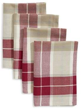 Distinctly Home Set of Four Herringbone Plaid Napkins