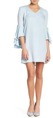 Sharagano Ruffled Bell Sleeve Dress (Petite)