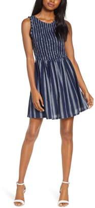 BB Dakota You Can Jive Stripe Smocked Dress