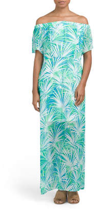 Off The Shoulder Palm Maxi Dress