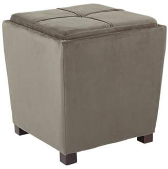 Office Star OSP Designs by Products 2 Piece Ottoman Set with Tray Top in Otter Velvet Fabric