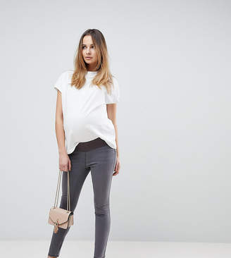 Asos DESIGN Maternity Rivington high waisted jeggings in new gray wash with under the bump waistband