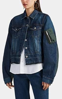 Sacai Women's Denim & Tech-Knit Patchwork Trucker Jacket