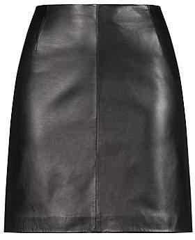 HUGO BOSS Lambskin leather miniskirt with exposed zip