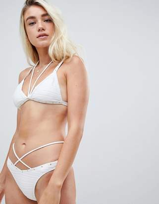Missguided Cross Over Stud Detail Bikini Bottom