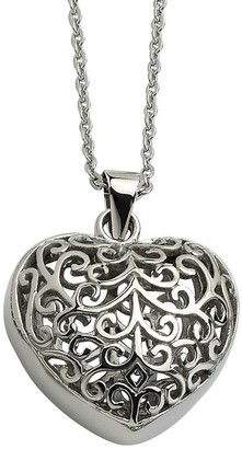 """Steel By Design Stainless Steel Filigree Heart Pendant with 21-1/2""""L Chain"""