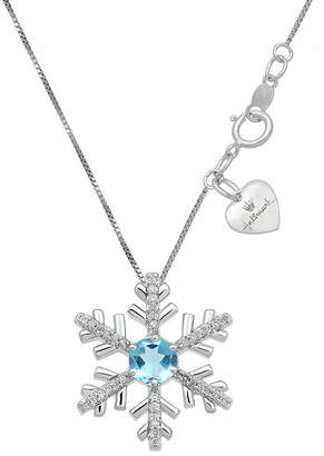 HALLMARK DIAMONDS Hallmark Diamonds Womens Genuine Blue Blue Topaz Sterling Silver Snowflake Pendant Necklace