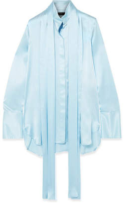 Ellery Oversized Pussy-bow Silk-satin Blouse - Light blue