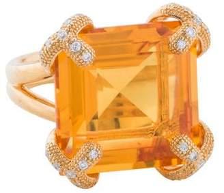 Di Modolo Golden Quartz & Diamond Soirée Cocktail Ring