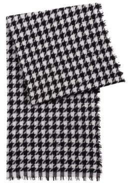 HUGO Boss Virgin-wool-blend scarf jacquard-knit houndstooth check pattern One Size Patterned