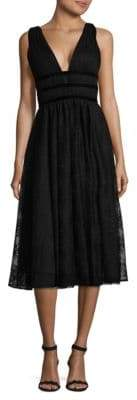 Nicole Miller New York Sleeveless Gathered V-Neck Gown