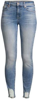 7 For All Mankind Destressed Skinny Ankle Jeans
