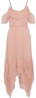 Love Sam Midori Cold-Shoulder Asymmetric Printed Georgette Midi Dress