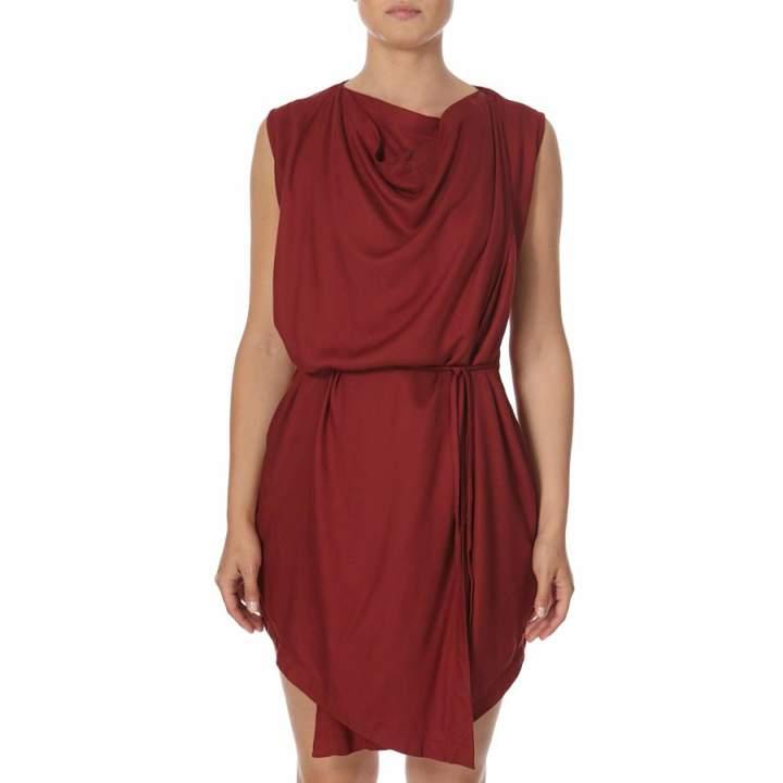 Red Drape Wrap Dress