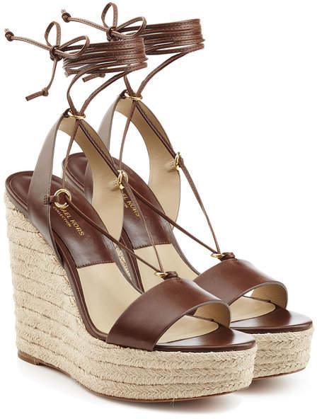 Michael Kors Leather Espadrille Wedge Sandals