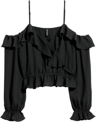 H&M Open-shoulder Blouse - Black
