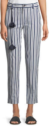Figue Zuri Straight-Leg Striped Crop Cotton Pants