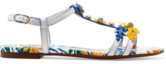 Dolce & Gabbana - Appliquéd Printed Textured-leather Sandals - White $1,375 thestylecure.com