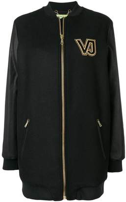 Versace contrast logo zipped coat