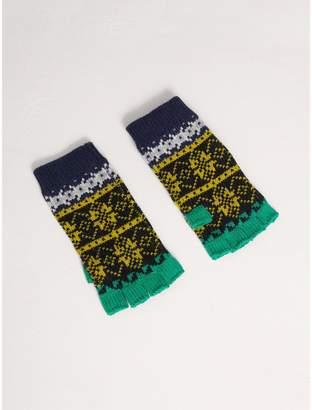 Burberry Fair Isle Wool Cashmere Fingerless Gloves