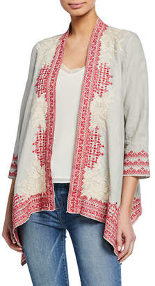 Johnny Was Camille Embroidered Draped Linen Cardigan