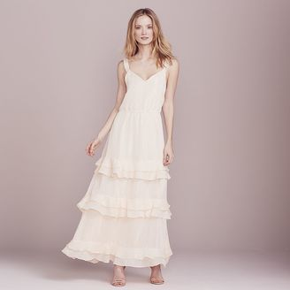 LC Lauren Conrad Dress Up Shop Collection Metallic Tiered Ruffle Dress - Women's $100 thestylecure.com
