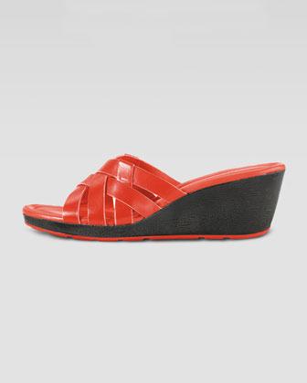 Cole Haan Bonnie Strappy Slide Wedge, Orange Pop