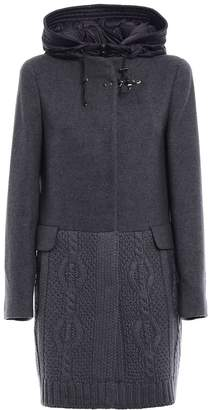 Fay Knit Wool And Cloth Hooded Coat
