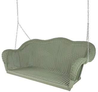 "Northlight 28"" x 50"" Hand Woven Wicker Outdoor Porch Swing - Green"