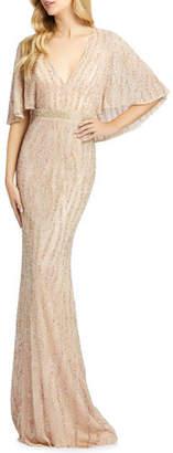 Mac Duggal Beaded V-Neck Cape-Sleeve Column Gown