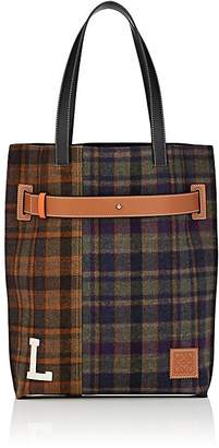 Loewe Men's Leather-Trimmed Patchwork Plaid Tote Bag